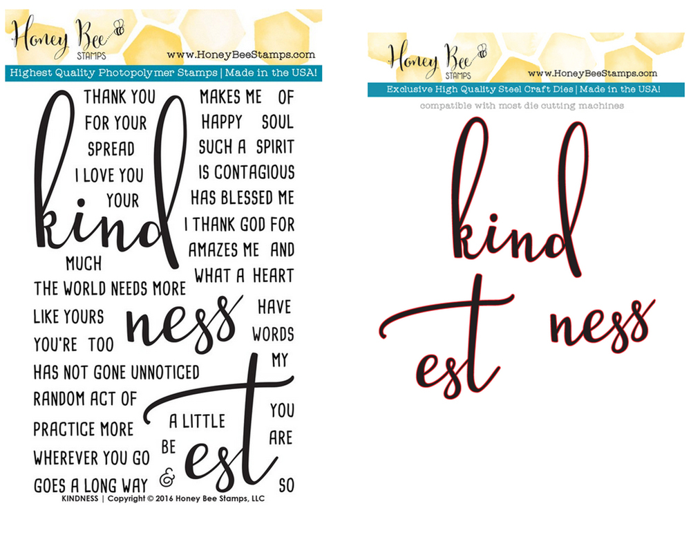 HONEY BEE KINDNESS STAMP AND DIE SET