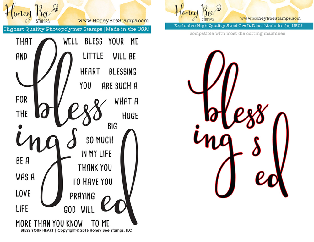 HONEY BEE BLESS YOUR HEART STAMP AND DIE SET