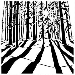 CRAFTER'S WORKSHOP 6 X 6 STENCIL MINI SUNLIT FOREST