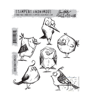 STAMPERS ANONYMOUS TIM HOLTZ  CLING RUBBER STAMP BIRD CRAZY