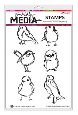 RANGER DINA WAKLEY MEDIA STAMPS SCRIBBLY SMALL BIRDIES