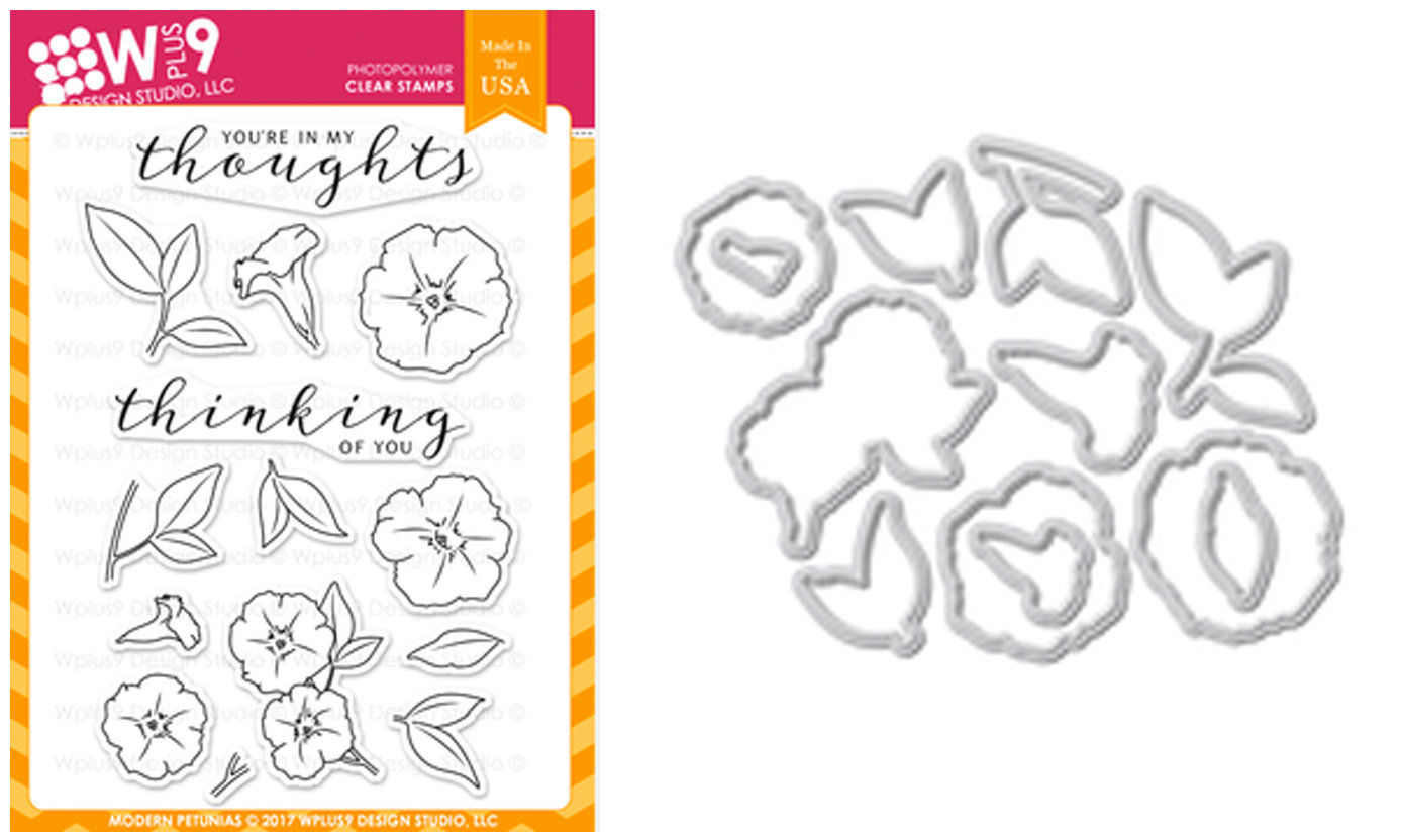 WPLUS9 MODERN PETUNIAS STAMP AND DIE SET