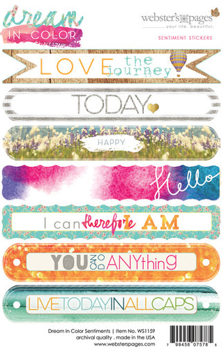 WEBSTER'S PAGES DREAM IN COLOR SENTIMENT STICKERS