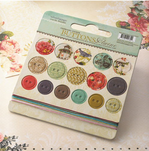 WEBSTER'S PAGES CHIPBOARD STICKERS BUTTONS AND TWINE- COUNTRY ESTATE