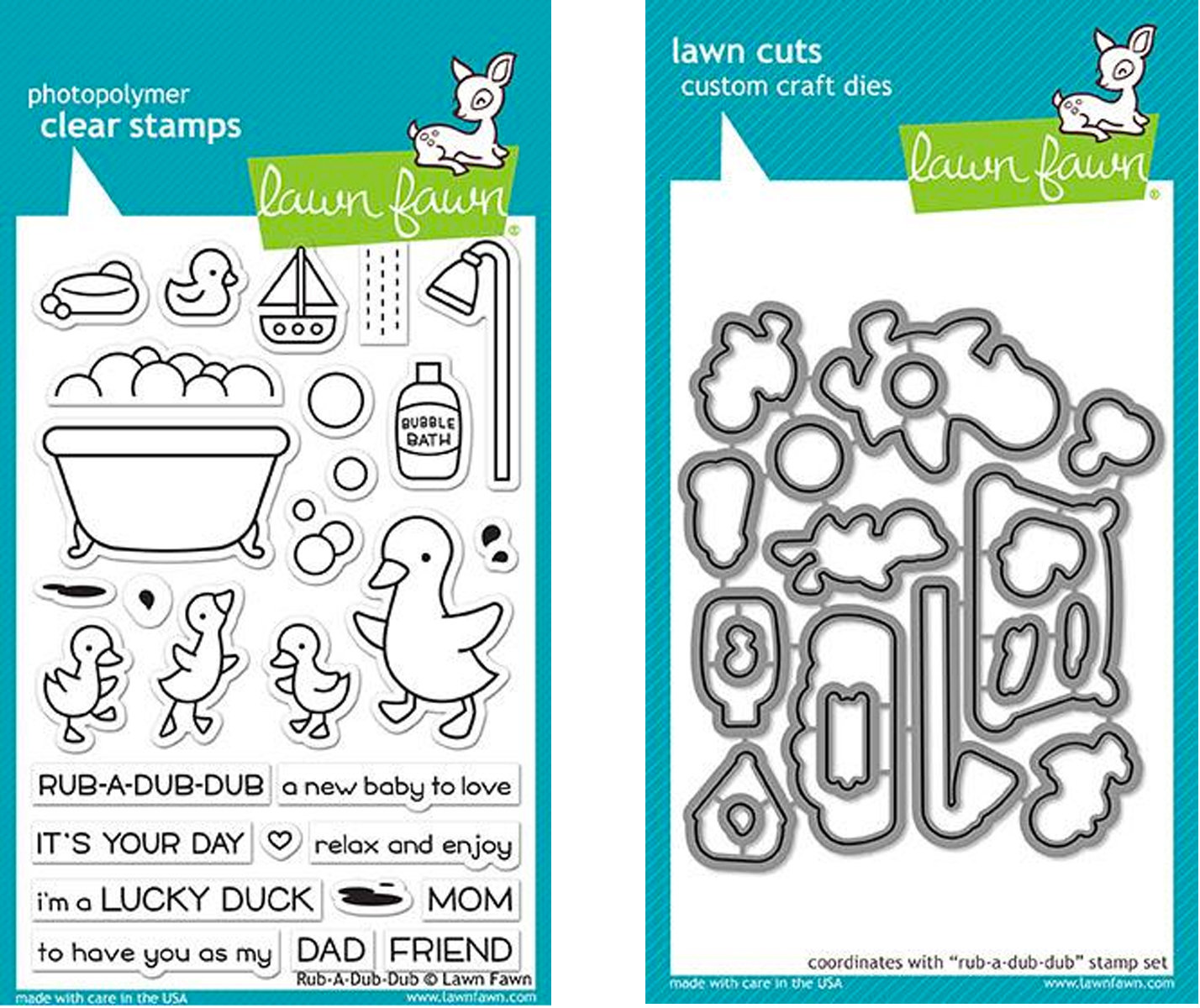LAWN FAWN RUB-A-DUB STAMP AND DIE SET
