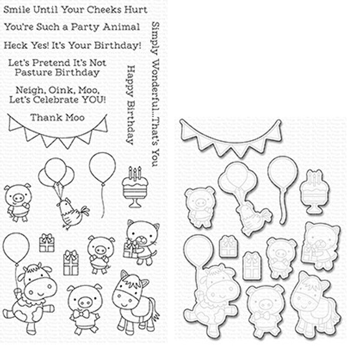 MFT  PARTY ANIMALS STAMP AND DIE SET