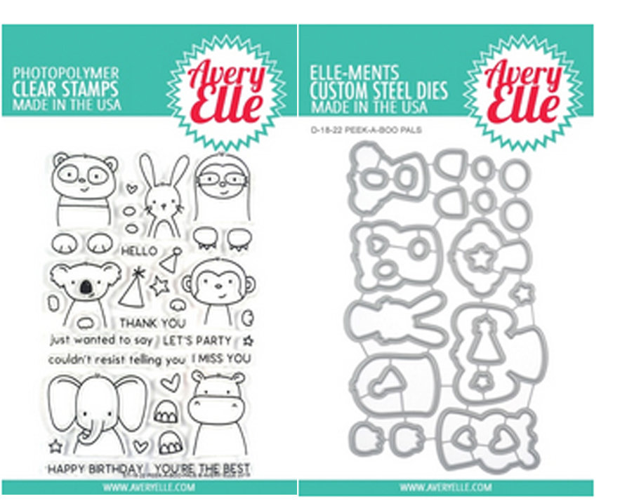 AVERY ELLE PEEK A BOO PALS  STAMP AND DIE  SET