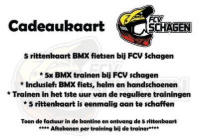 Cadeaukaart 5 rittenkaart BMX fietsen