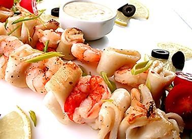 Мини шашлычки из морепродуктов, 10 шт.