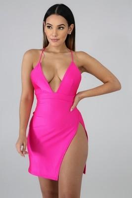 Strap Slit Body-Con Dress