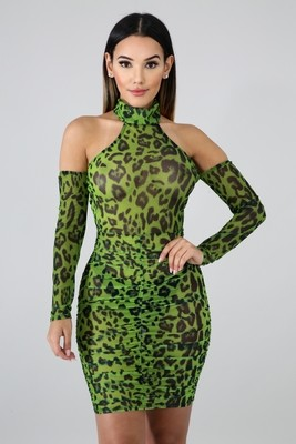 Cheetah Mesh Body-Con Dress