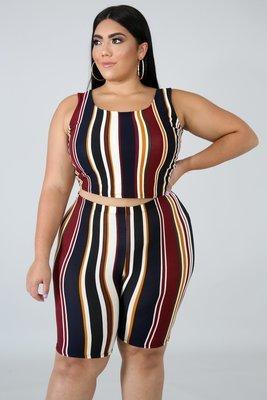 Flannel Stripe Short Set