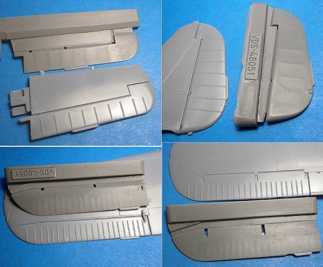 1/48 Fw-190A-5/8 control surfaces Vector resin for Hasegawa kit: VDS48051