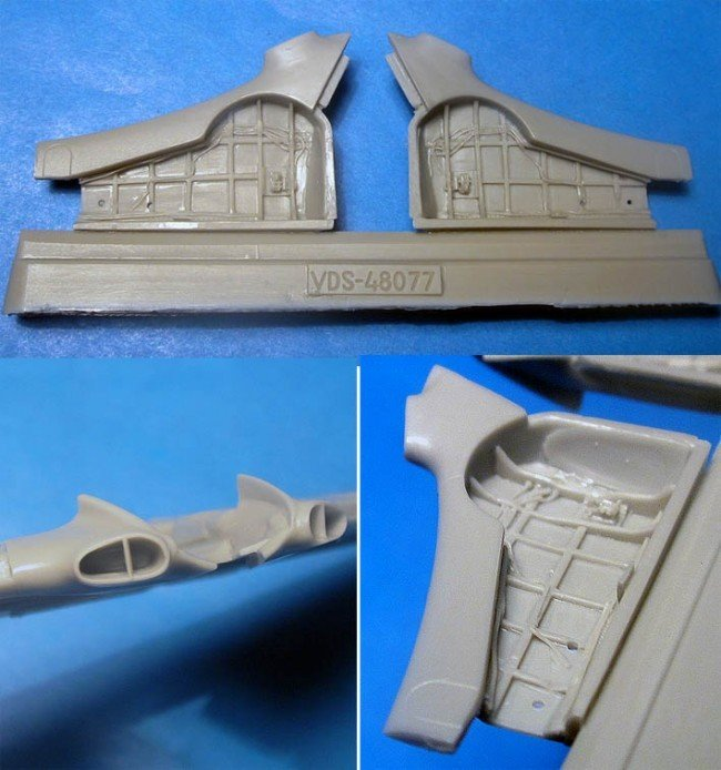 1/48 Yak-3 Wheel Wells & Wingroot Intakes Vector resin for Zvezda: VDS48077
