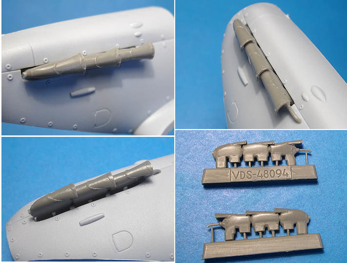 1/48 Spitfire Mk.V exhaust pipes, Vector resin for Airfix: VDS48094