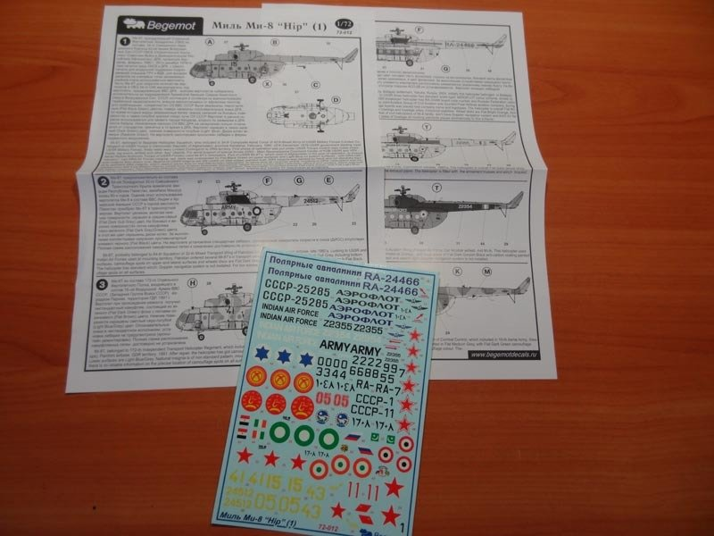 1/72 Mil Mi-8 Helicopter Decal Begemot
