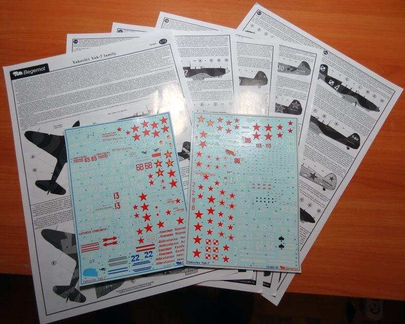 1/72 Yakovlev Yak-7 Decal Begemot