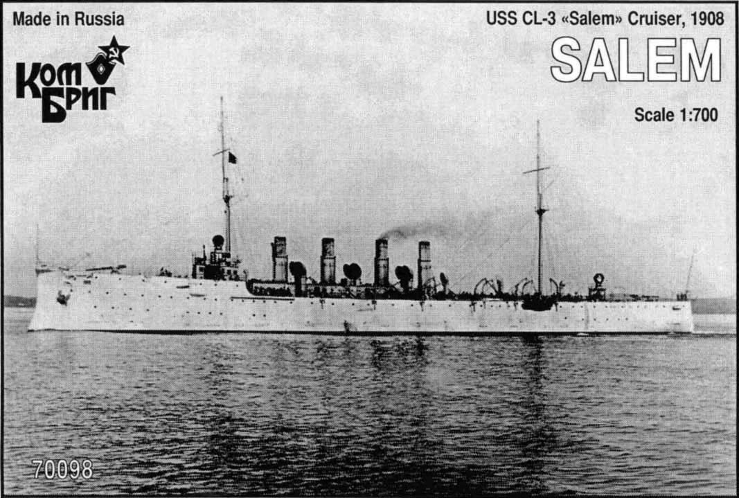 Combrig 1/700 Cruiser USS CL-3 Salem, 1908, resin kit #70098PE