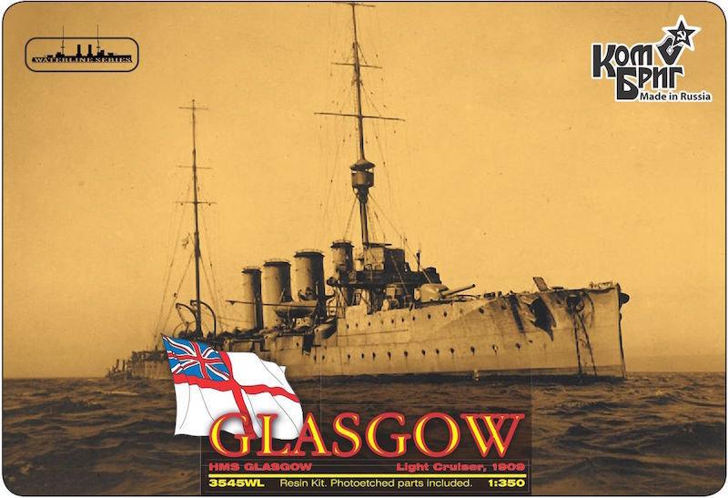 Combrig 1/350 Light Cruiser HMS Glasgow, 1909, resin kit #3545WL