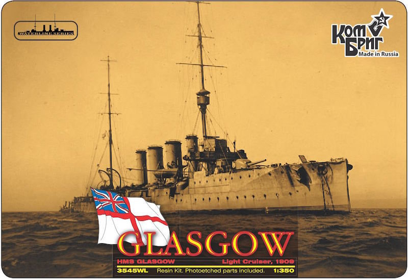Combrig 1/350 Light Cruiser HMS Glasgow, 1909, resin kit #3545FH