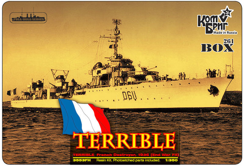 Combrig 1/350 Destroyer Leader Le Terrible, 1936, resin kit #3553WL
