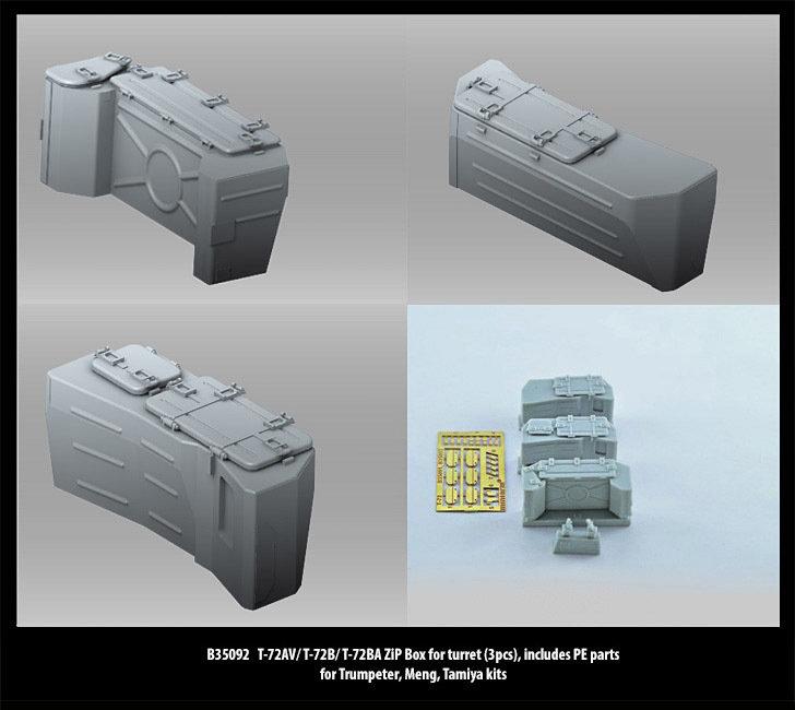 Miniarm 1/35 T-72AV/ T-72B/ T-72BA ZiP Box for turret (3pcs), includes PE parts