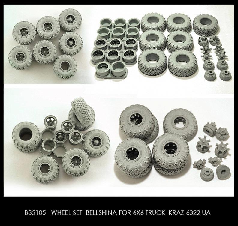 Miniarm 1/35 Wheel set Bellshina for KRAZ-6322 UA 6pcs plus extra