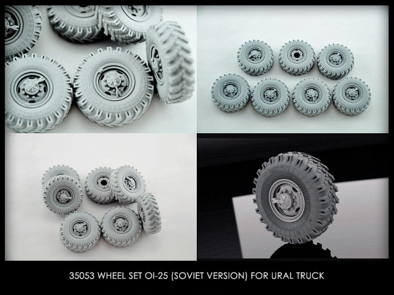Miniarm 1/35 Wheel set OI-25 (soviet version) for 6X6 Truck URAL-375/4320 (6pcs plus extra)