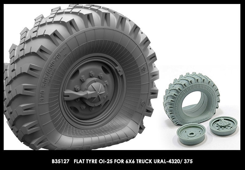 Miniarm 1/35 Flat tyre OI-25 for 6X6 Truck URAL-4320/ 375 (1pcs)
