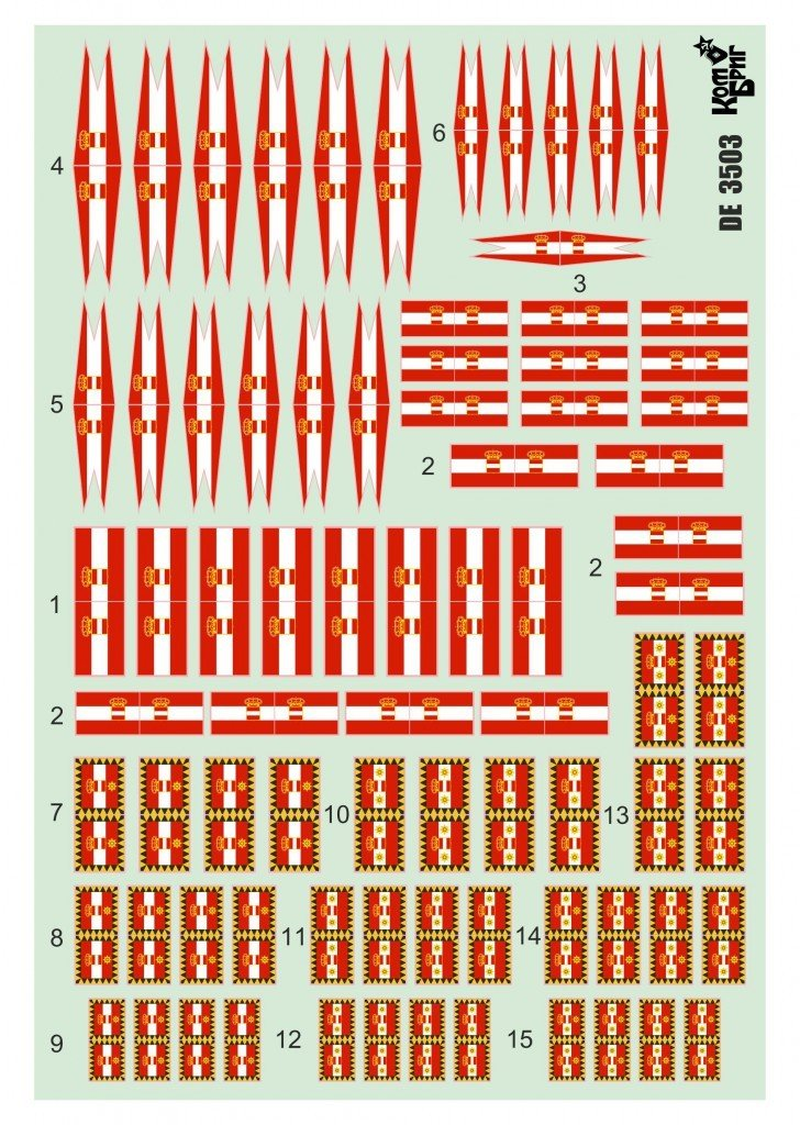 Combrig 1/700 Austro-Hungarian Navy Flags decal #DE7003