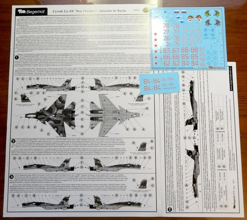 1/72 Sukhoi Su-33 from the Russian Naval Aviation in Syria Decal Begemot #72-076