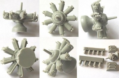 1/48 Clerget 9 Engine Vector Resin #48-012