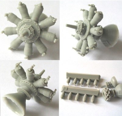1/48 Gnome 9 Monosoupape Engine Vector Resin #48-013