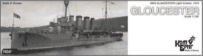 Combrig 1/700 Light Cruiser HMS Gloucester, 1910, resin kit #70247PE
