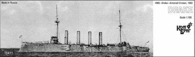Combrig 1/700 Armored Cruiser HMS Drake, 1903, resin kit #70411PE