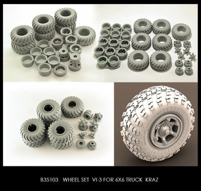 Miniarm 1/35 Wheel set VI-3 for 6X6 Truck KRAZ 6pcs plus extra