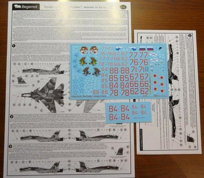1/48 Sukhoi Su-33 from the Russian Naval Aviation in Syria Decal Begemot #48-051