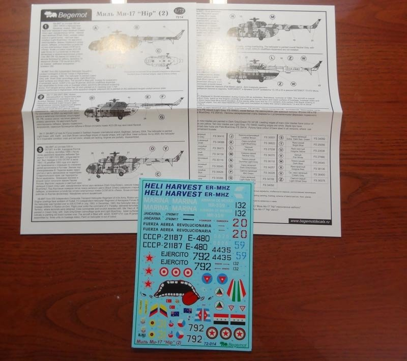 1/72 Mil Mi-17 Hip Helicopter Decal Begemot