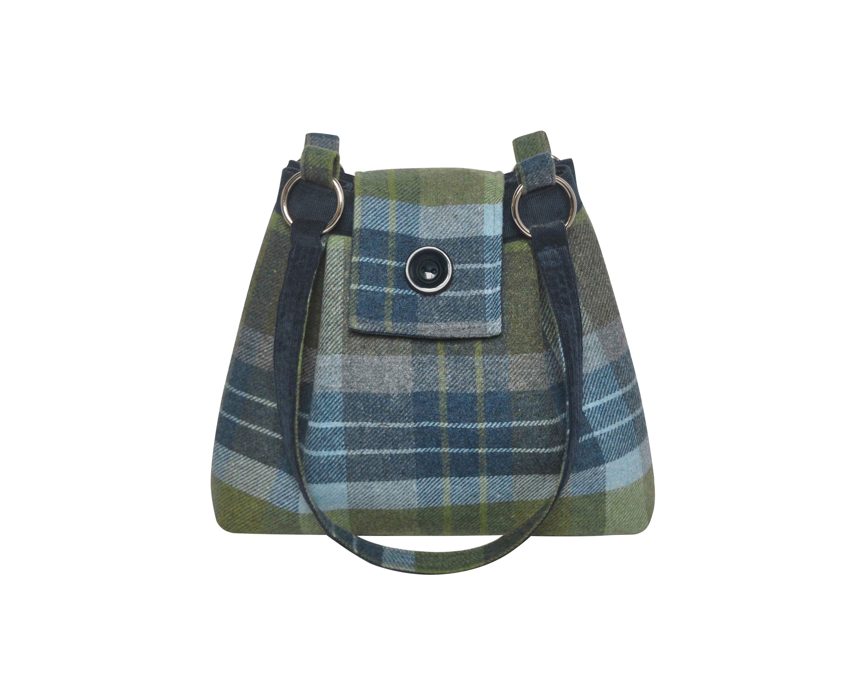 Coastal Blue Ava Tweed Handbag from Earth Squared T19AVACB