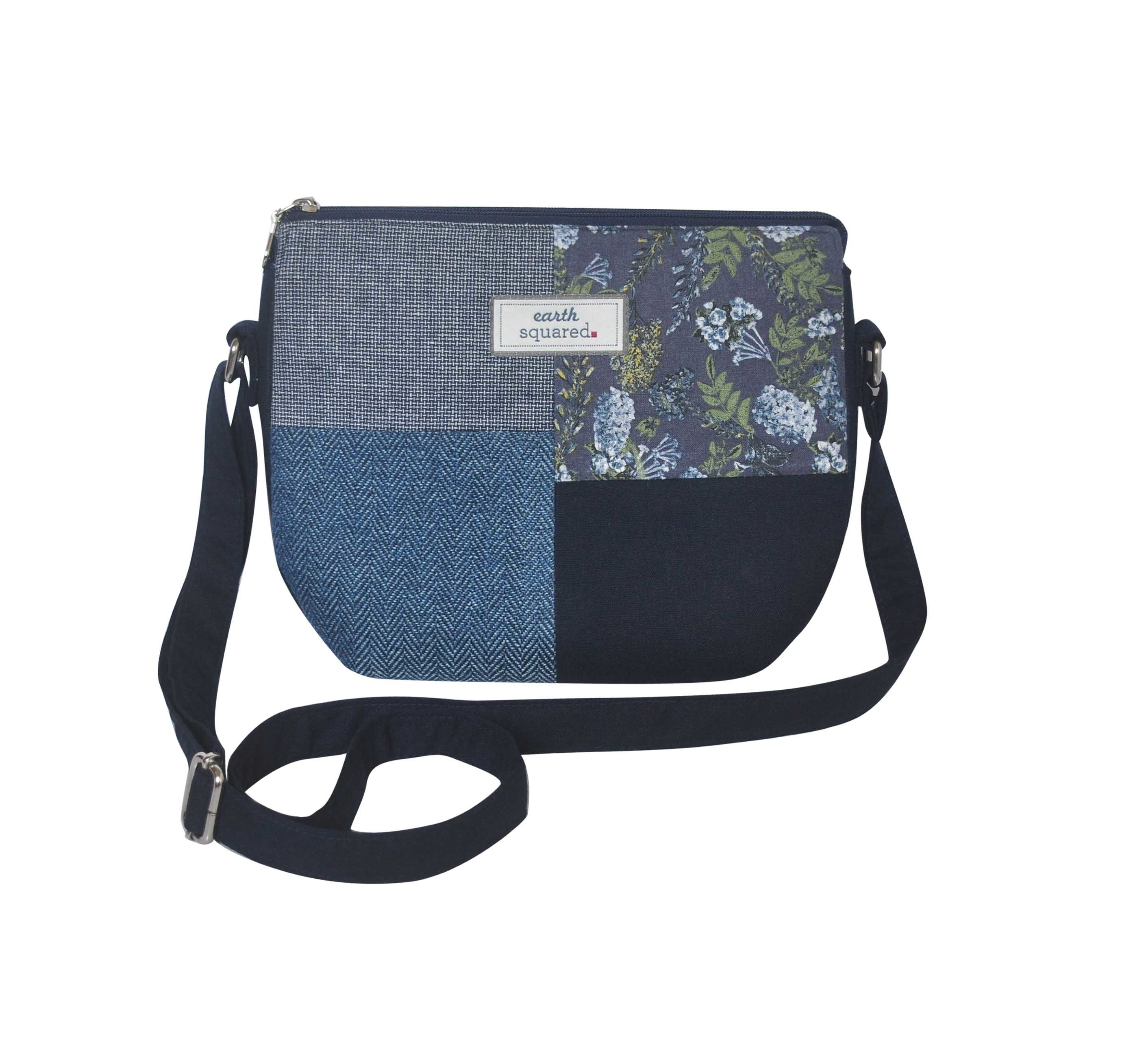Earth Squared Patchwork Messenger Bag Blue FBATCHMESSBL