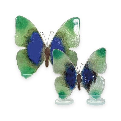 Nobile Glass Fused Glass Butterfly Blue/Green Large