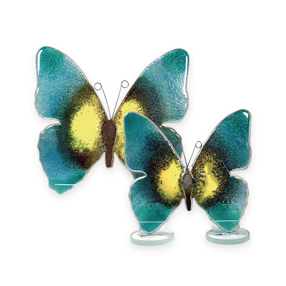 Nobile Glass Fused Glass Butterfly Teal Small