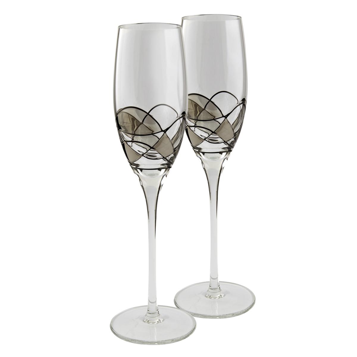 Nobile Silver Mosaic Champagne Glasses Pair Sil M Champ