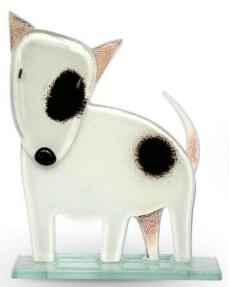 Nobile Fused Glass Bull Terrier White