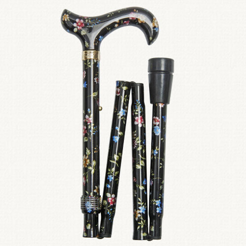 Classic Canes Folding Elite derby, height-adjustable, black floral, patterned handle 5003F