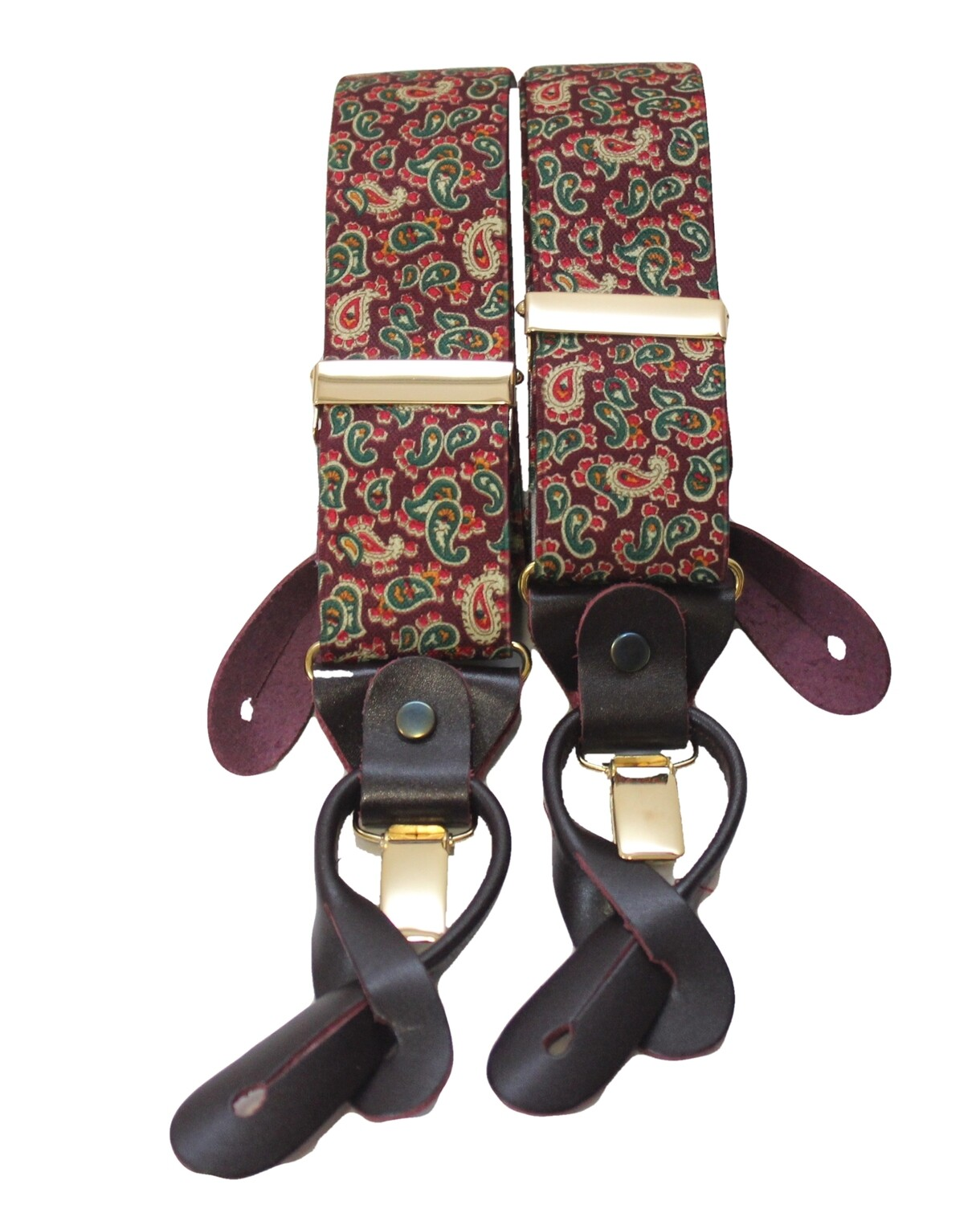 Burgundy Paisley Braces with Leather Tabs and Clips