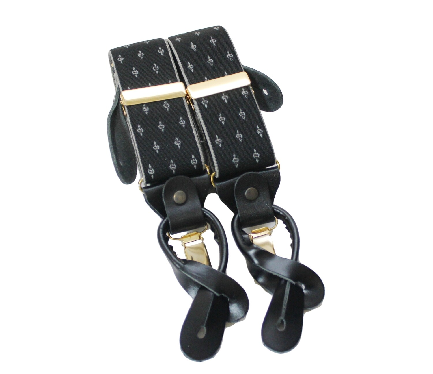Olive Diamond Braces with Leather Tabs and Clips