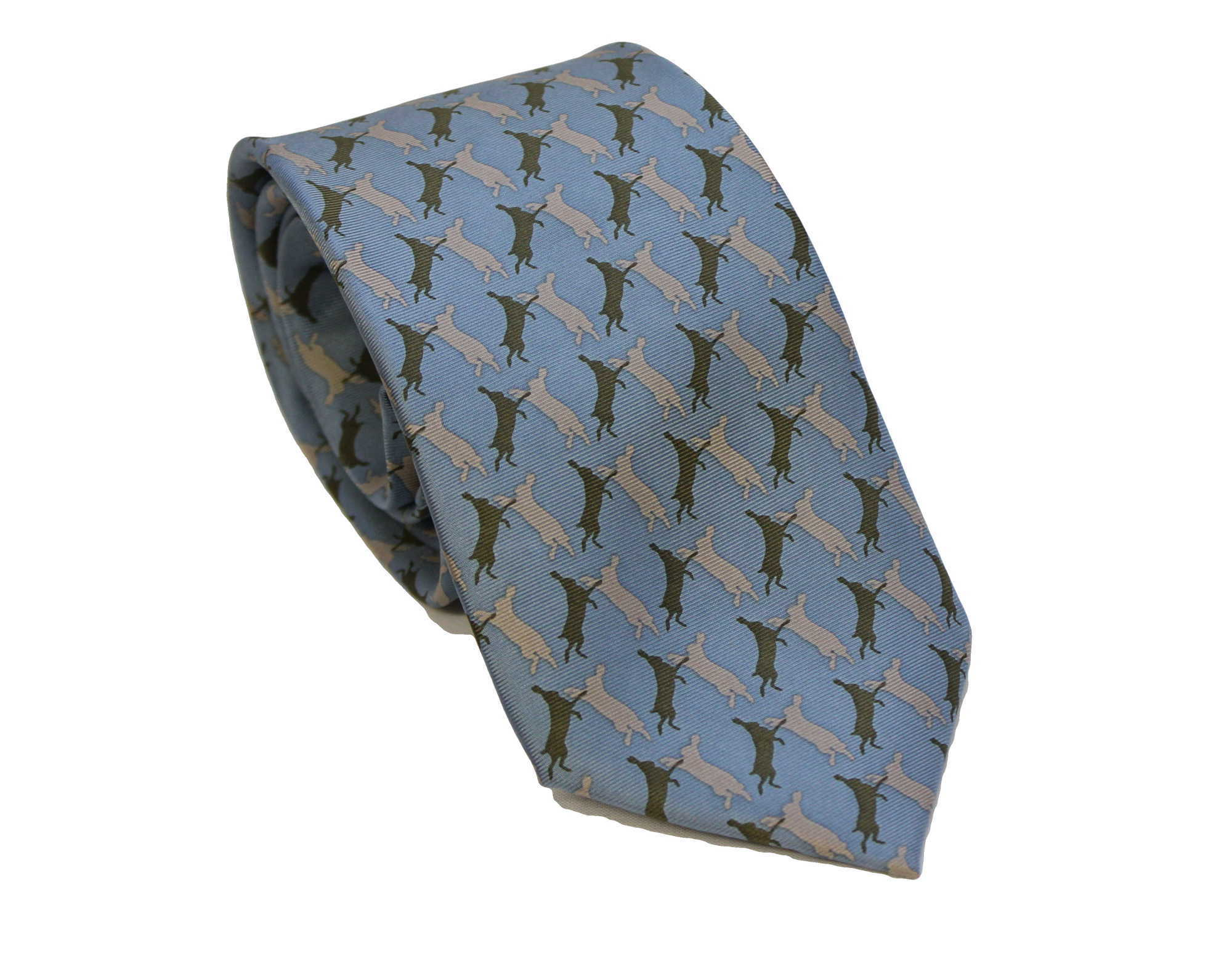Boxing Hares- Silk Tie by Fox & Chave 270