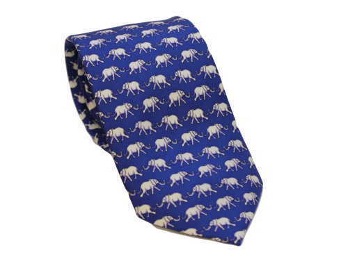 Blue Elephant - Silk Tie by Fox & Chave 41079