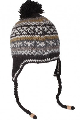 Pachamama hand Knitted Men's Orkney Chullo in Charcoal Orkney Chullo